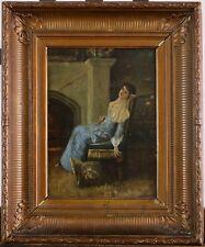 XIXe Siècle, Jeune dame au livre dans son intérieur, Signé A. Car.? à identifier