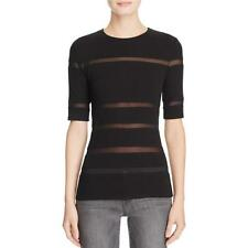 Bailey 44 7709 Womens Torba Black Illusion Striped Pullover Top Sweater S BHFO