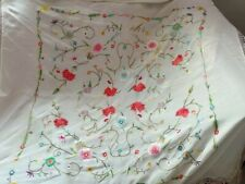 Antique Chinese Hand Embroidery Piano Shawl 94x94+ Fringe 23Cm white multicolor