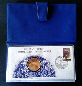 1986 HALLEYS COMET Commemorative medal set in original wallet limited to 10000