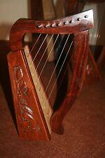 8 String Celtic Harp - Rosewood Irish Engraved Harp+ Bag