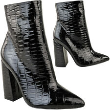 Womens Ladies Block High Heel Ankle Boots Black Croc Smart Work Animal Print