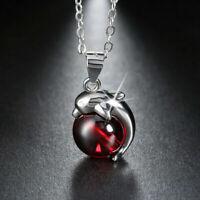 Genuine 925 Sterling Silver Ladies Necklace Pendant Red Garnet Rhodium Plated