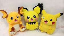"3X Pokemon Plush Pichu Pikachu Raichu Soft Toy Stuffed Animal Doll Teddy 8"""
