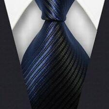 Mens Classic Striped Tie JACQUARD WOVEN 100% Silk Ties Necktie Dark Blue #L288