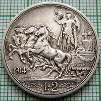 ITALY VITTORIO EMANUELE III 1914 R 2 LIRE, QUADRIGA, SILVER HIGH GRADE PATINA