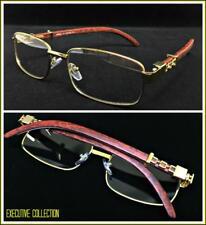 Mens Classy Elegant Retro Style Clear Lens EYE GLASSES Gold & Wood Fashion Frame
