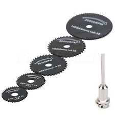 6PCS HSS Circular Saw Rotary Blades Wheels Cutting Discs Mandrel Set for Power