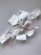 Baby Shower kid Girl christening Pure white bow ribbon Party hair band Headband