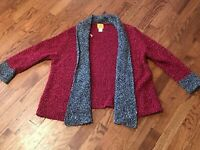 Women's Ruby Rd. Crimson & Gray Open Front Cardigan Size Large