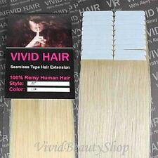 "20pcs 22"" Remy Seamless Tape Skin Weft Human Hair Extensions Lightest Blonde #11"