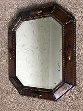 Vintage Wooden Oak Bevelled Edge Wall Mirror