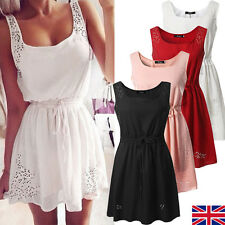 UK Womens Sleeveless Casual Midi Tops Short Summer Beach Party Mini Skater Dress
