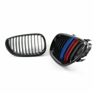 Gloss Black M-color Front Kidney Grill Grille For 2003-10 BMW E60 E61 5 Series