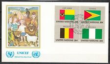 United Nations NY 1982 FDC cover Flags of Cape Verde Guyana Belgium Nigeria