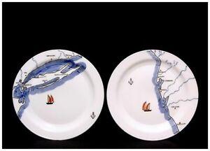 "VERNON KILNS <> 2 Coastline 8 1/2"" Plates - Florida & New York <> Gale Turnbull"