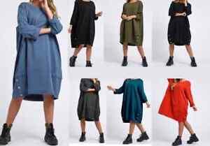 New Women's Italian Buttoned Hem Lagenlook Cotton Long Sleeve Tunic Dress Plus