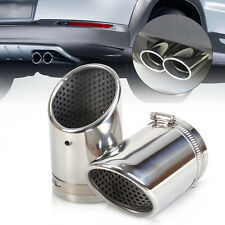 2x CHROME EXHAUST TAIL MUFFLER TIP PIPE for CC EOS 08-14 2012 2013 VW Passat B6