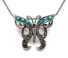 Türkis Markasit Schmetterling Anhänger Brosche 925 Sterling Silber