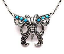 Turquesa Marcasita Colgante de Mariposa Broche Plata de Ley 925