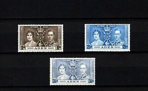 ADEN - 1937 - KG VI - CORONATION ISSUE - MINT - MNH - SET OF 3!