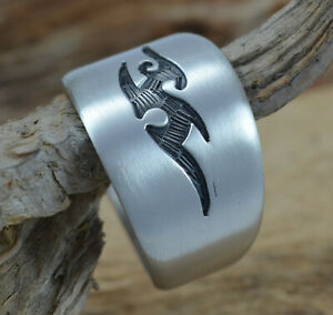 925 Sterling Silber handgesägter Ring Tribal Tattoo Hopi Style matt handmade