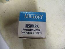 Mallory Model: M50MPK Potentiometer. 50K OHM, 4 Watts<