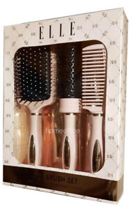 Elle Women Hair Brush Set Paddle Brush Round Brush Comb Gift Set