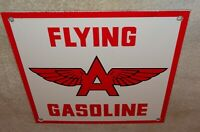 "VINTAGE FLYING A GASOLINE & WINGS 10"" PORCELAIN METAL GAS & OIL SIGN! PUMP PLATE"