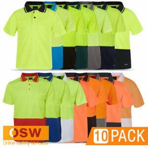 10 x Unisex Hi Vis Short Sleeve Traditional Tradies BREATHABLE Polo Work Shirts