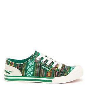 Rocket Dog Jazzin Women's Green Aloe Stripe Cotton Print Low-Top Sneaker Trainer