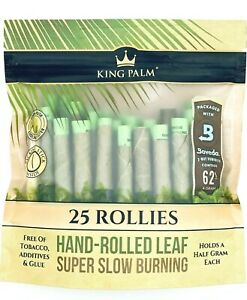 King Palm 25 Rollies Pre Wrap Natural Super Slow Burning Leafs Rolls Hand-Rolled