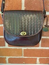 BRAHMIN Shoulder Bag Crossbody Black & Woven Brown Leather