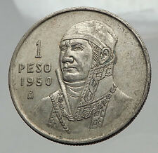 950 Mexican Independence HERO Jose Maria Morelos SILVER Peso Coin Mexico i62981