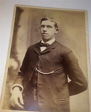 Antique Victorian Dapper Young Gentleman, Watch Fob! Chickering Cabinet Photo