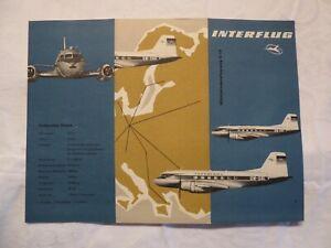Flugzeug IL-14 Iljuschin, Interflug der DDR, Faltprospekt von 1960