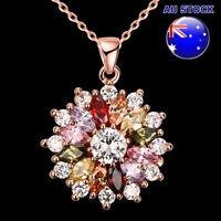 18K Gold Filled Colourful Crystal Flower Pendant Bride Necklace