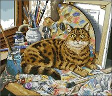 Leonardo - Art Cat - Cross Stitch Chart - Free Postage