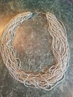 """Gorgeous Vintage Metallic Champagne Silver Multi-Strand 22.5"""" Seed Bead Necklace"""