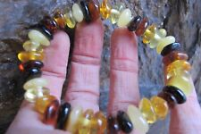 Amber fossil crystal Multi Colour beaded bracelet elastic healing polished Real