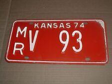 1974 Kansas Car License Tag  Plate  MR V 93 Morris County