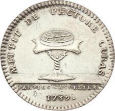 O3363 Jeton Louis XV Parties Revenus Casuels Boussole sur pied 1739 Argent SUP