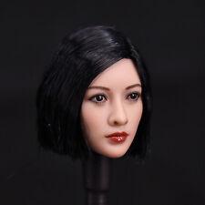 "1/6 Short Asian Black Wig Head Sculpt Model For 12"" Female  JIAOUDO Phicen Body"