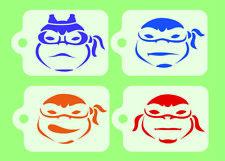 Teenage Mutant Ninja Turtles x 4 Face Painting Stencils 190micron Reusable Mylar