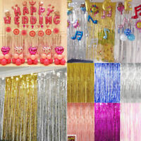 2M/3M Long Foil Fringe Tinsel Curtain Wedding Backdrop Birthday Party