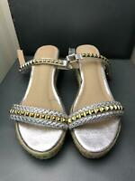 Unbranded Silver Gold Sandals Summer Size 7 Very Good Condition Womens  (P279)