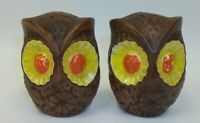MCM Treasure Craft USA Big Brown Orange Yellow OWLS Salt Pepper Shaker Set