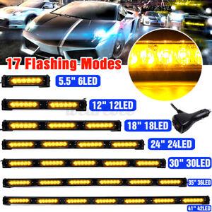 LED Amber/Yellow Traffic Advisor Emergency Hazard Warning Flash Strobe Light Bar