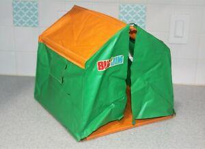 Vintage Big Jim Camping Tent + accessories table chairs fire pit pots Mattel