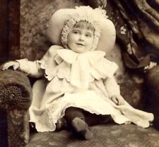 Young Girl in Christmas Finery Dress and Hat Cabinet Card 1885 Gilbert & Bacon
